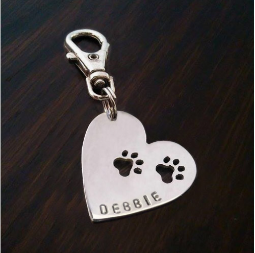 Personalised paws to your Heart Paws Keyring Handmade by saw piercing